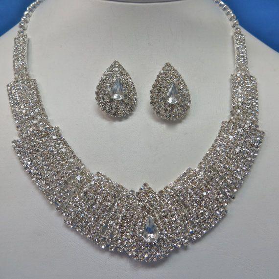 Rhinestone Pearl Necklace Pearl Bridal Jewelry Rhinestone Pearl