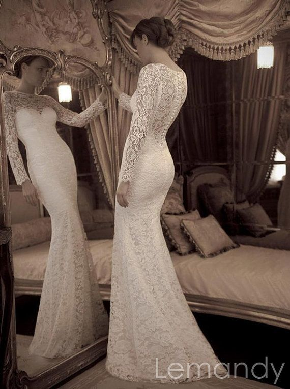 ivory long sleeves mermaid lace wedding dress floor length