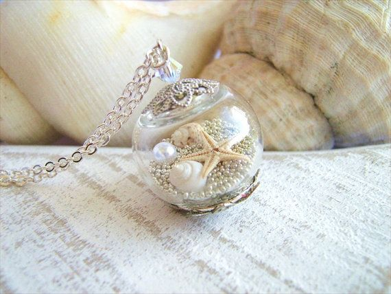 Starfish Necklace Real Seashell Jewelry Hollow Glass Globe Beach