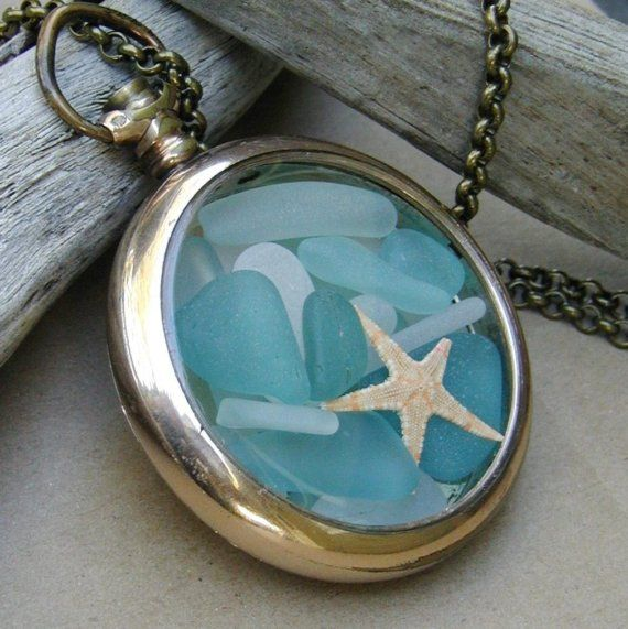 sea glass locket i want to make this - How To Make Sea Glass