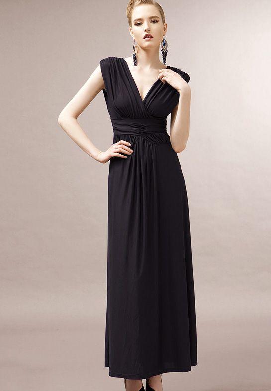 Mariage - Black V Neck manches dos nu robe plissée - Sheinside.com