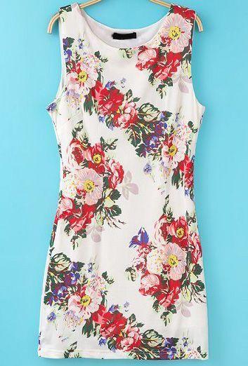 Mariage - Sans manche blanc floral vintage Robe moulante - Sheinside.com