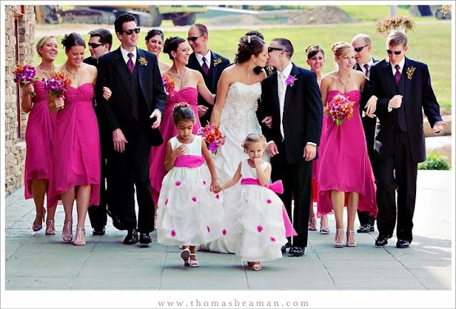 Black White Pink Wedding Party