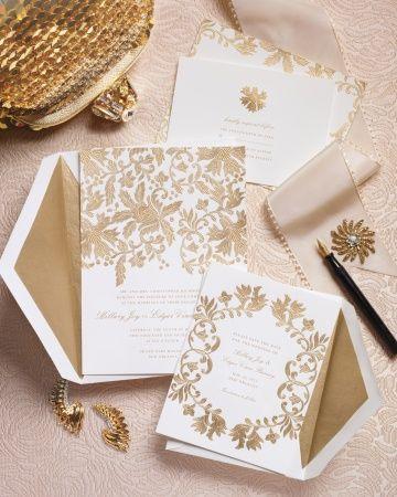 زفاف - دعوة ورق الذهب