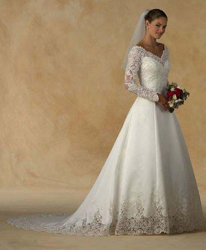 Long sleeve lace appliques ivory satin court train wedding for Long sleeve lace wedding dresses