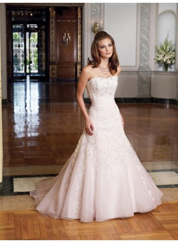 Hochzeit - A-line Strapless Lace Brush Train Organza Wedding Dresses WE4459