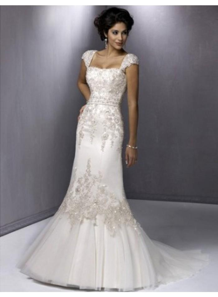 wedding a line spaghetti straps sequince lace wedding dresses we4456