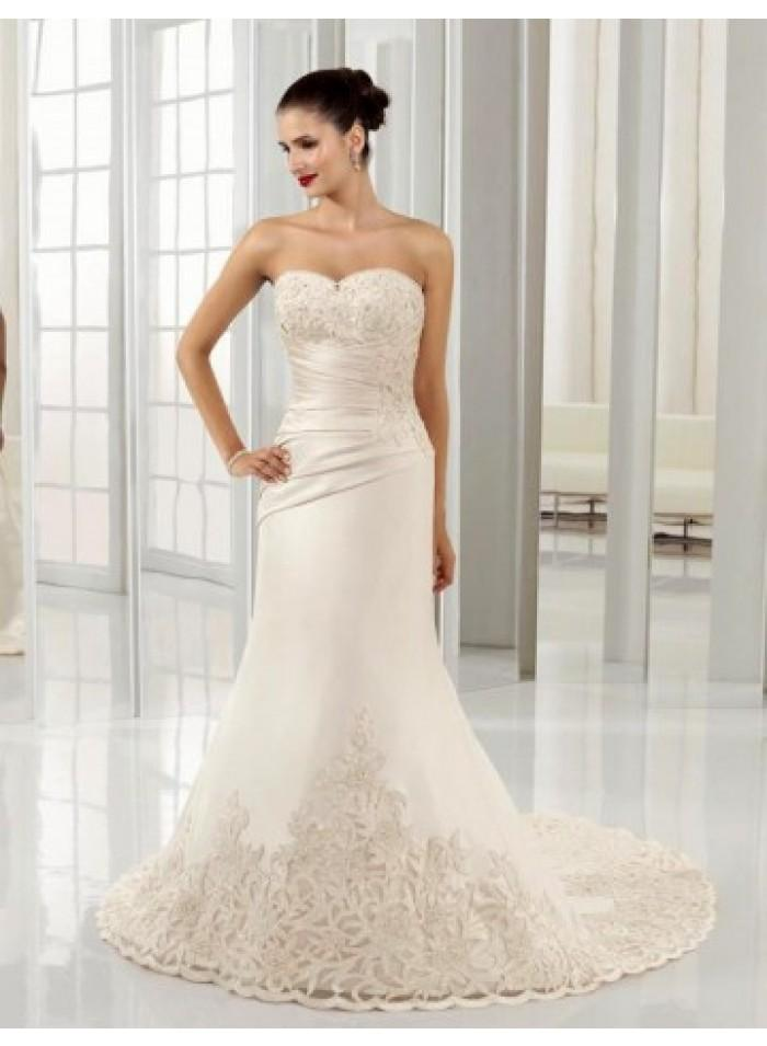 Wedding - Empire A-line Strapless Lace Satin Wedding Dresses WE4451