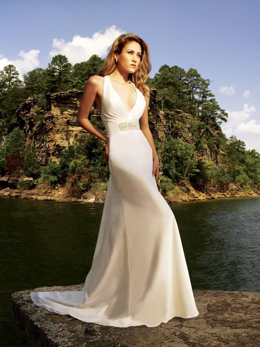 Wedding - Halter Court Train A-line Chiffon Wedding Dress(WD0105)