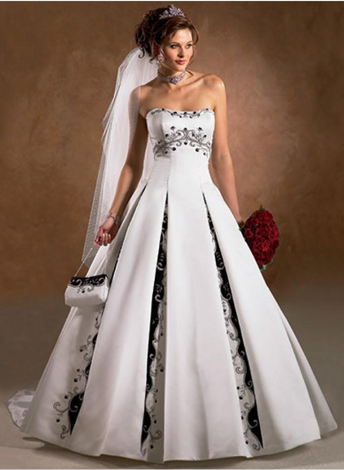 Strapless Ruched A Line Sweetheart Embroidery Sweep Train Floor Length  Wedding Dresses WE1061