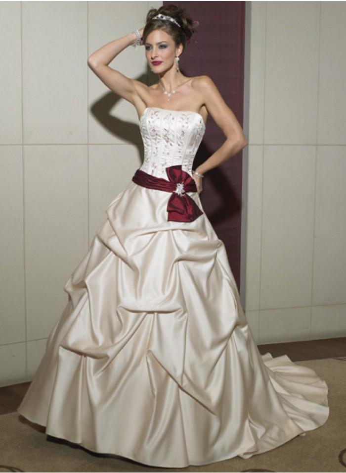 A Line Ball Gown Short Sleeve Ruched Sweetheart Sweep Train Bow Ribbon Floor Length Wedding