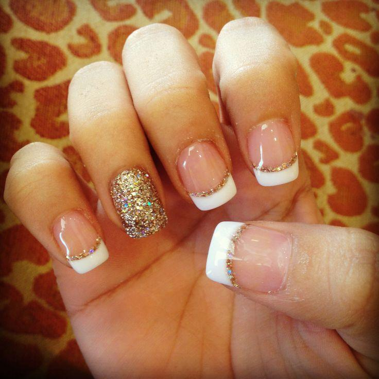 French tip nail designs with gold glitter
