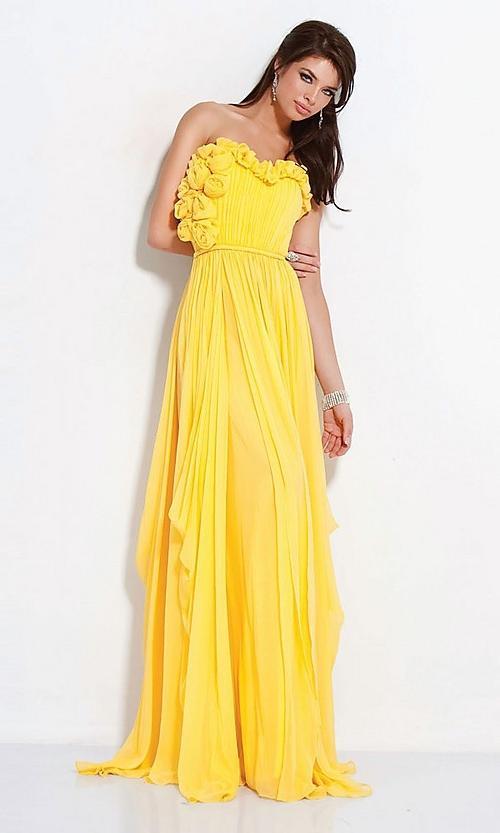 زفاف - Stunning Floral Column Strapless Chiffon Prom Dress(PD0468)