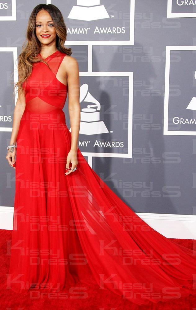 Boda - Robe de soirée sexy longue rouge de mousseline de soie