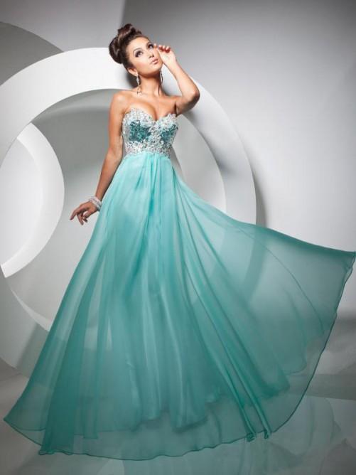 Düğün - Chiffon Flowing Sweetheart Strapless Dress