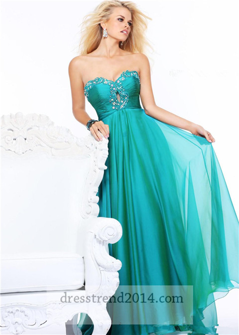 زفاف - Beaded Keyhole Teal Long Prom Dress
