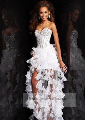 Beaded Corset White High Low Ruffled Prom Dresses