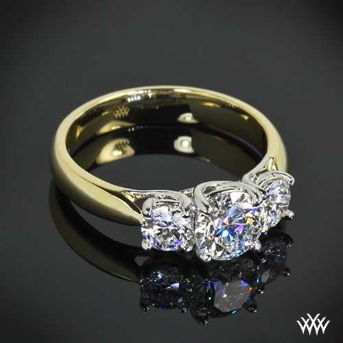 Mariage - Trois pierres Bagues de fiançailles - Past, Present And Forever