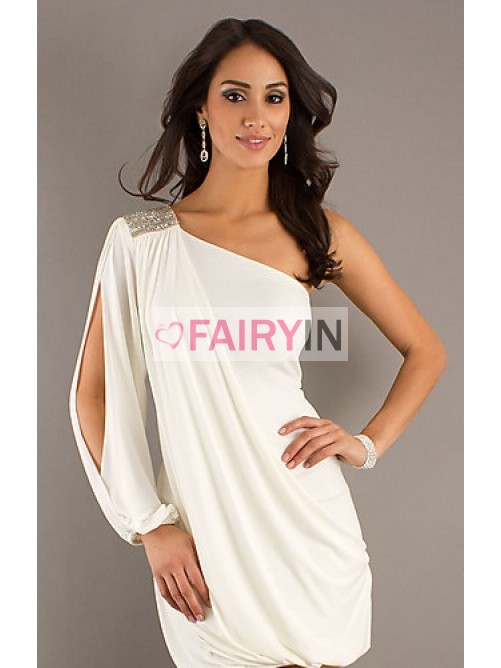bffcd9e9c0e Sheath Column One-shoulder Long Sleeves Short Mini Chiffon Cocktail Dress