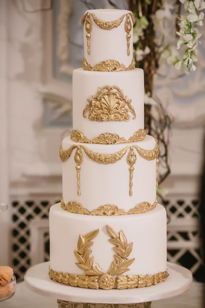 Baroque Wedding White And Gold Baroque Wedding Cake 2081498
