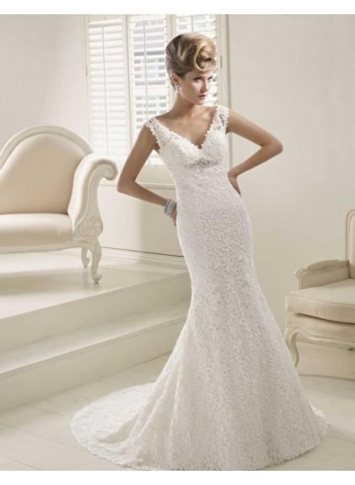 Mariage - Off-the-Shoulder Crystal Brooch/Lace Mermaid/Trumpet Cathedral Train Luxurious Natural Lace Wedding Dresses WE2676