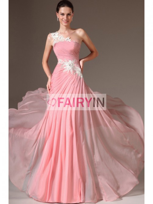 eba7b51877 A-line/Princess One-shoulder Sleeveless Applique Floor-length Chiffon Dress