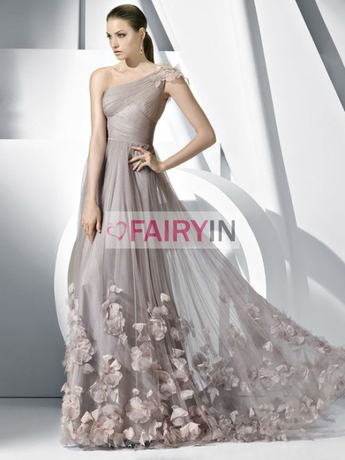 Hochzeit - A-line/Princess Pleats Tulle One-shoulder Hand-made Flower Floor-length Dress