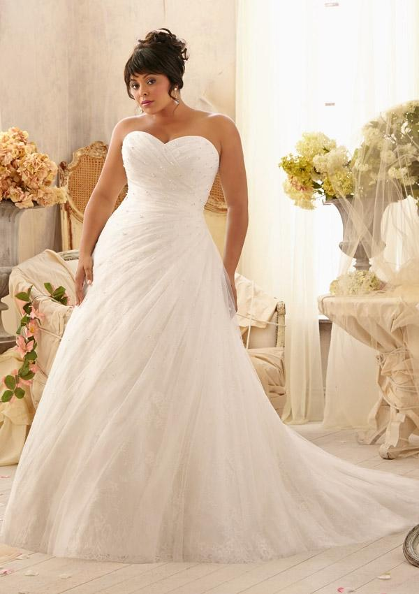 Crystal beads on soft net over chantilly lace wedding for Chantilly lace wedding dress