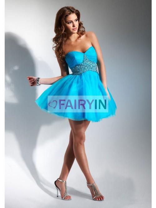 Mariage - A-Linie Trägerloser Ausschnitt Herz-Ausschnitt Mini Tülle Party Kleider