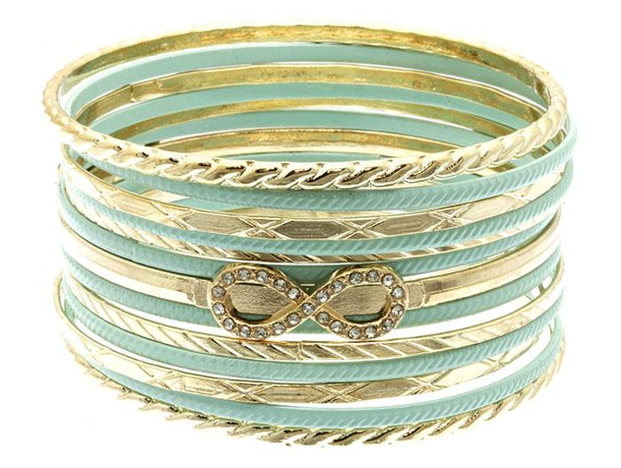 Mariage - mint bow bangle stack