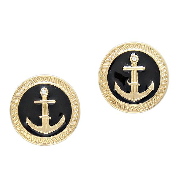 Свадьба - nautical gold studs