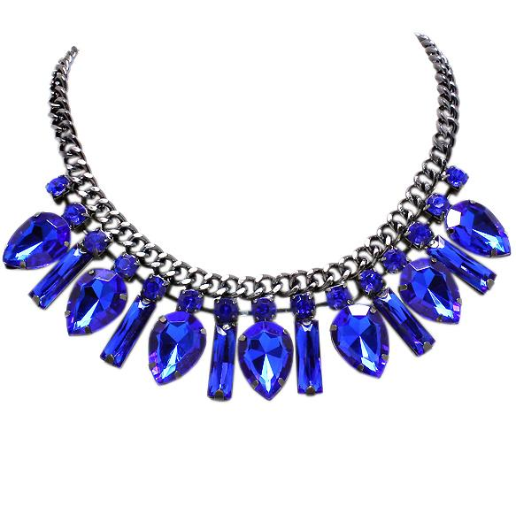 Свадьба - Glam Crystal Necklace in Cobalt