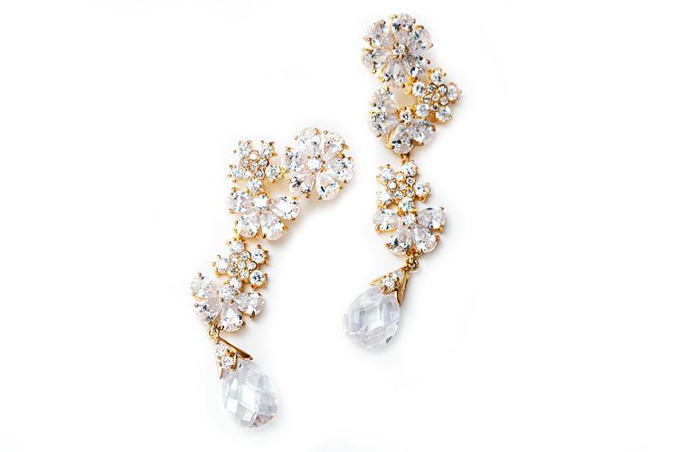 Wedding - 18K gold tone floral dangle earring