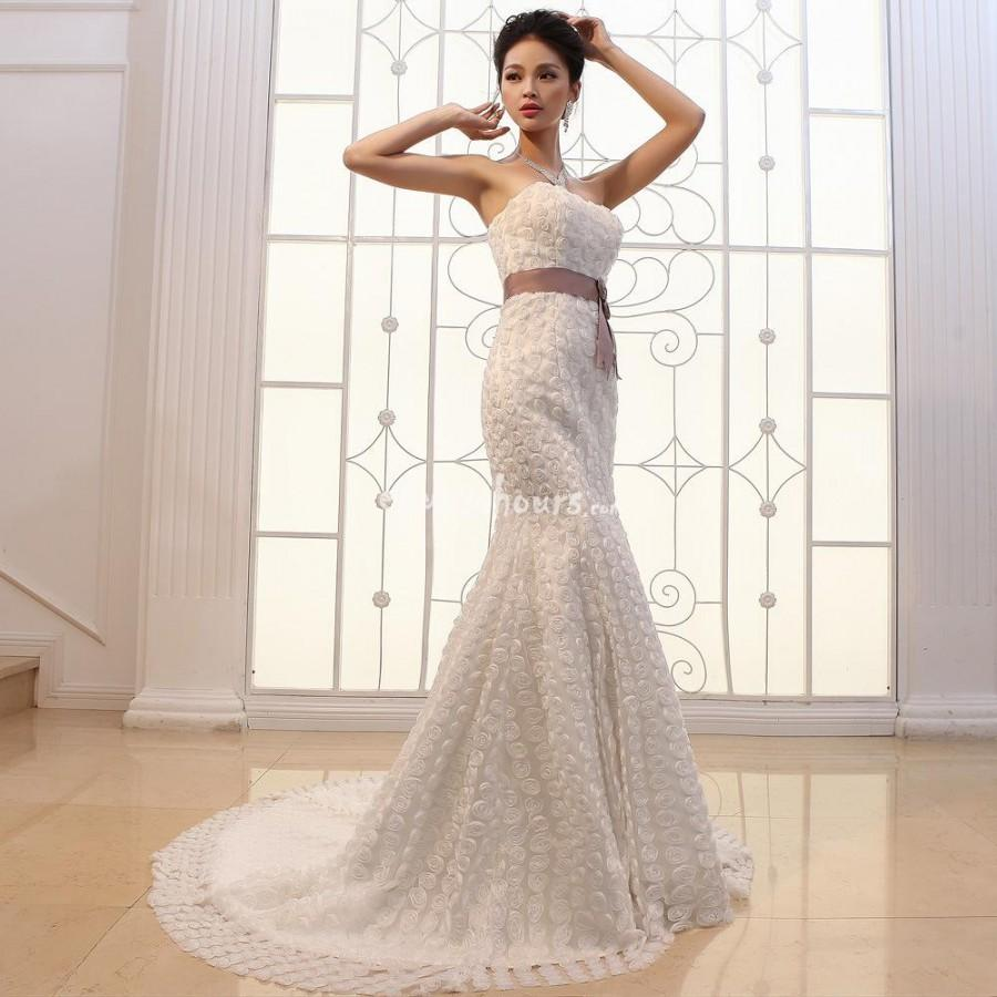 Wedding - Slim significantly thin Bra fishtail trailing three-dimensional flowers wedding dress
