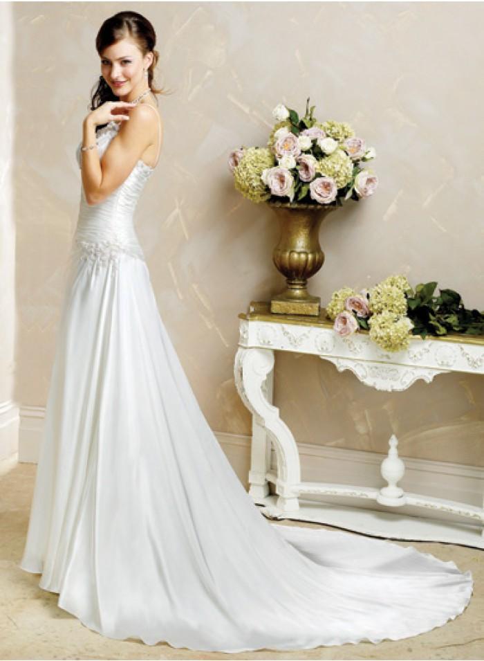 Свадьба - Sheath Spaghetti straps Sleeveless Beading/Ruching Empire Chapel train Elastic Wedding Dresses WE0124