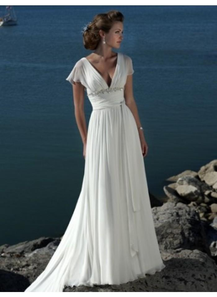 Sexy a line v neck ruching sweep train chiffon wedding for A line wedding dress with ruching