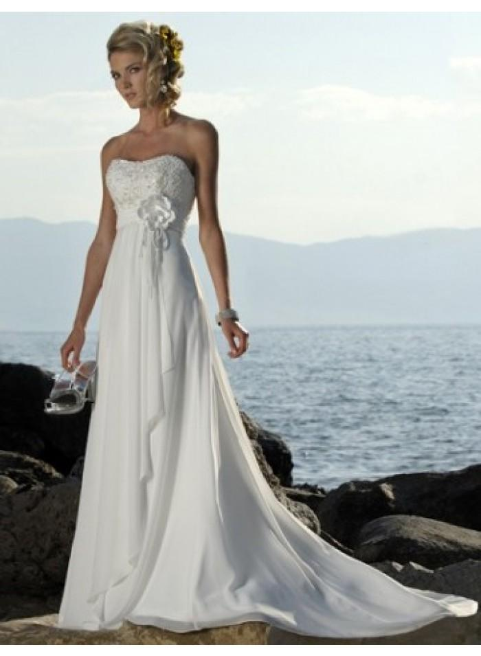 306a50df3caf0 Empire A-line Strapless Flower Belt Slim Chiffon Wedding Dresses WE0113
