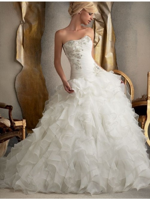 A Line Ball Gown Strapless Applique Chiffon Wedding Dress