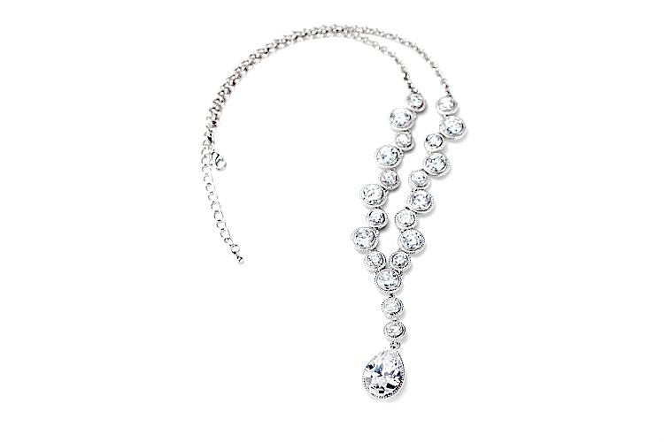 Wedding - Roped multi cz drop pendant necklace