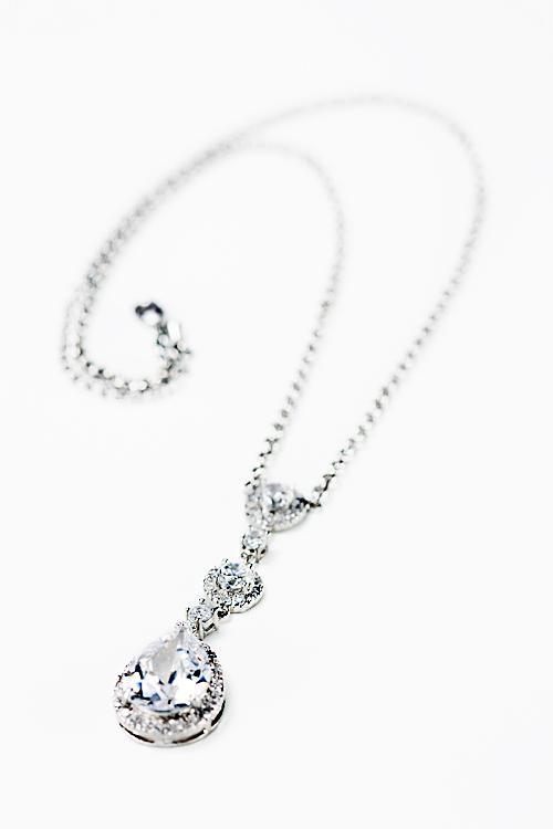 Wedding - Drop Pear cz necklace