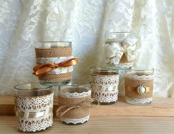 Burlap and lace covered votive tea candles country chic for How to decorate for a bridal shower at home