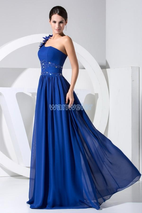 A Line One Shoulder Floor Length Blue Chiffon Bridesmaid Dress