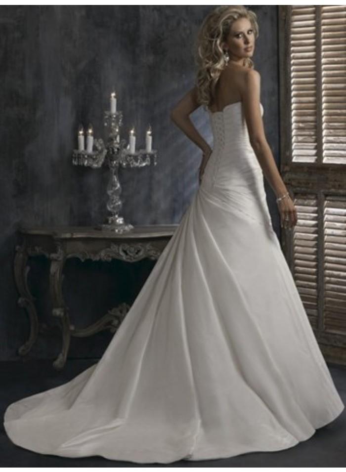 Empire a line sweetheart ruching taffeta wedding dresses for A line wedding dress with ruching