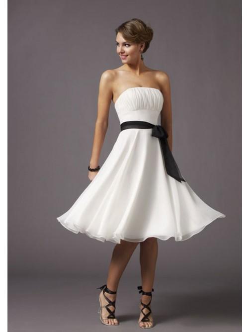 Wedding - A-Linie Trägerloser Ausschnitt Schleife Schärpen Homecomingkleider