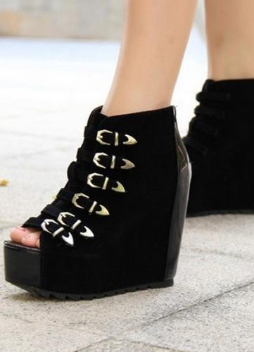 زفاف - Western Style Color Block Zipper Side Hight Heel Wedge Shoes Gold Gold W0065