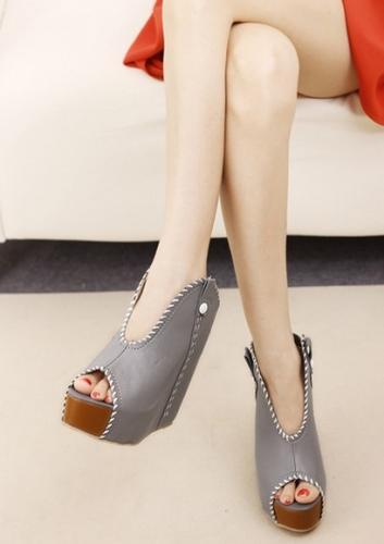 Wedding - Western Style Denim Platform Heels Blue Blue W0060