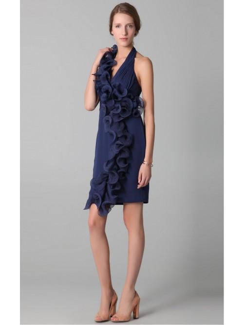 Wedding - Dark Navy Sheath Short V-neck Dress