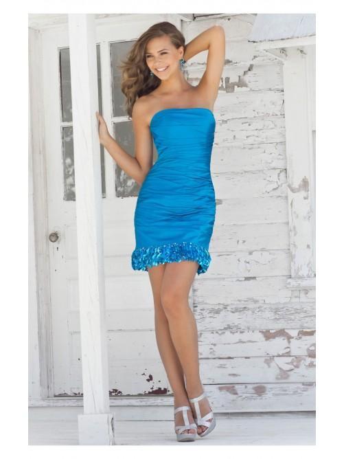 Mariage - Blue Sheath/Column Short/Mini Strapless Dress