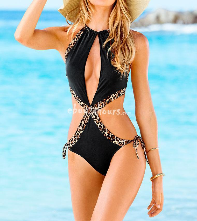 Wedding - Summer Sexy Black Leopard Lace Up Monokini Swimwear