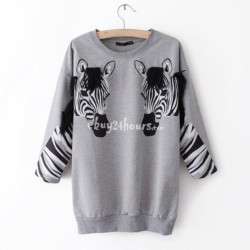 زفاف - Women Round Neck T-shirt Capri Sleeve Zebra Tee